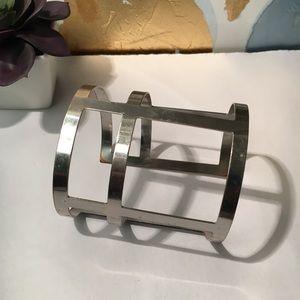 Silver cage cuff bracelet